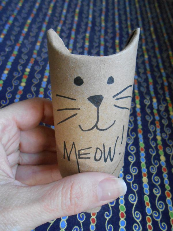 A homemade cat toy for treats.