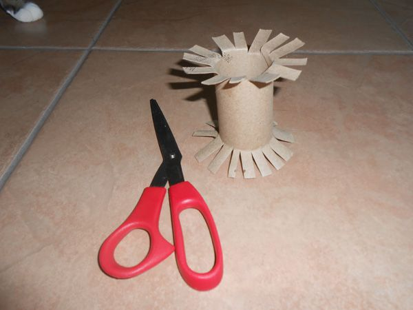 A homemade toilet paper roll cat toy.