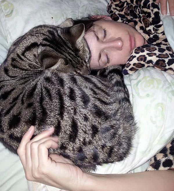Monkey, sound asleep on his person's head.