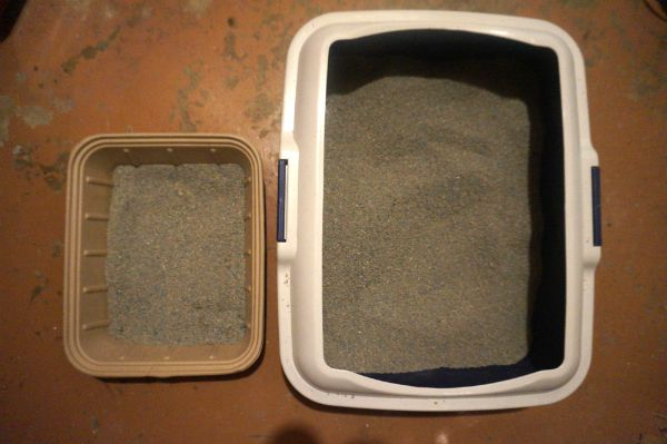 The Clean Healthy Litter Box looks tiny compared to one of our regular boxes.