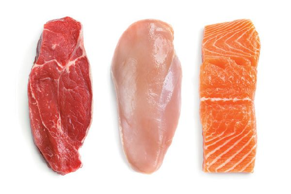 Red meat, chicken and salmon.