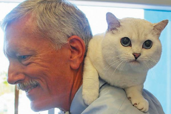 Coffee with his vet,Dr.Gregory Ogilvie from California Veterinary Specialists. Photography courtesy California Veterinary Specialists.