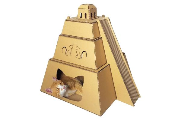 Mayan Pyramid Cardboard Cat House, Cacao Pets ($55). https://www.etsy.com/listing/474497403/mayan-pyramid-cardboard-cat-housecat?ref=shop_home_active_28 https://www.etsy.com/shop/CacaoPets/