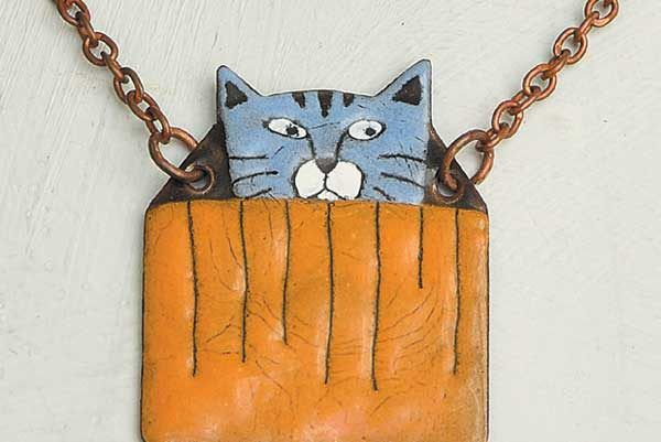 Lulu's Cat Store Blue Kitty in Box Necklace.